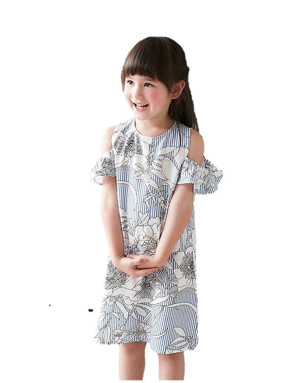 e06c3b99bdf1 Get Quotations · Bunny n Bloom Little Girls Blue Stripe Floral Print Cold  Shoulder Dress 1-6