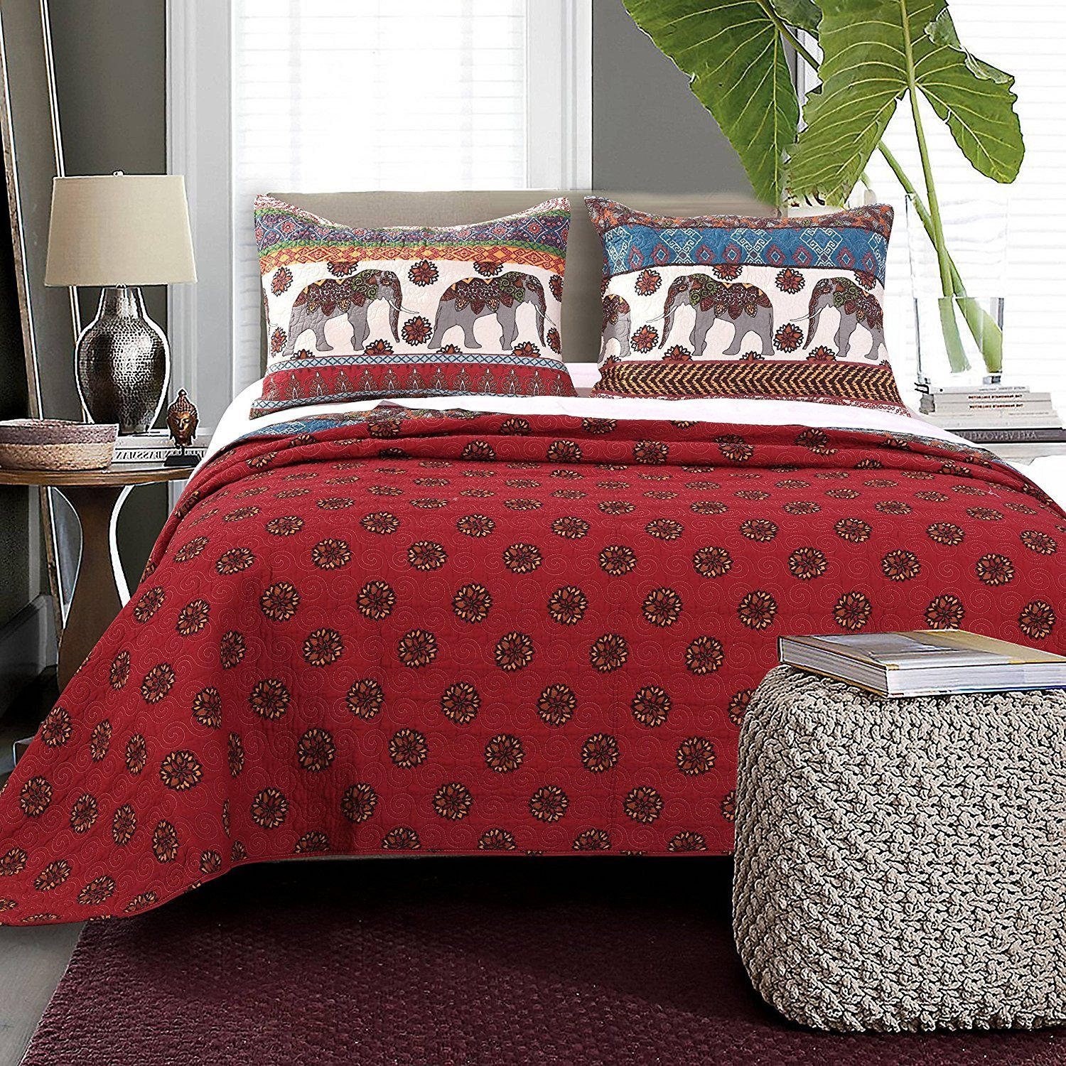 2pc Stunning Grey Red Blue White Twin Quilt Set, Elephant Themed Bedding Zoo Animal Floral Trendy Chic Pretty Stylish Bohemian Boho Vibrant, Cotton, Microfiber, Polyester