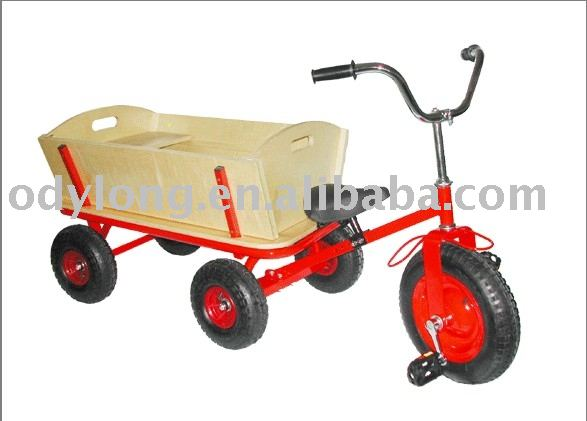 Kids tricycle toy with wooden trailer (F80AT)