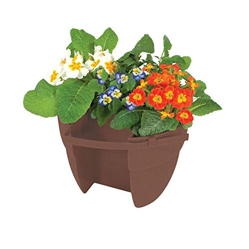 """Emsco Group Bloomers Railing Planter with Drainage Holes – 24"""" Weatherproof Resin Planter – Earth Brown"""