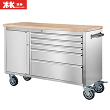 48 Inch Tool Chest Tool Trolly Cabinet 5 Drawers One Cabinet with Wheels and 2 Brakes, 3.8cm Rubber Timber Desk for Sale