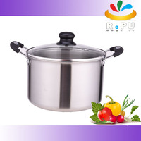As seen on tv 3 Layer metal stock induction round glass cover caldero Pot big stainless casserole