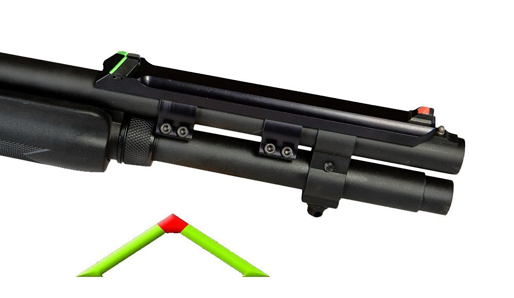 Advantage Tactical Split Ring Triangular Sight Set Remington Shotgun 870, 1100, 11-87 12 Gauge Steel Blue with Interchangeable Front & Rear Colored Inserts