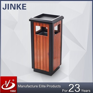 Garden/Street/Outdoor Metal Wood Recycle Waste Bin Trash can With Ashtray