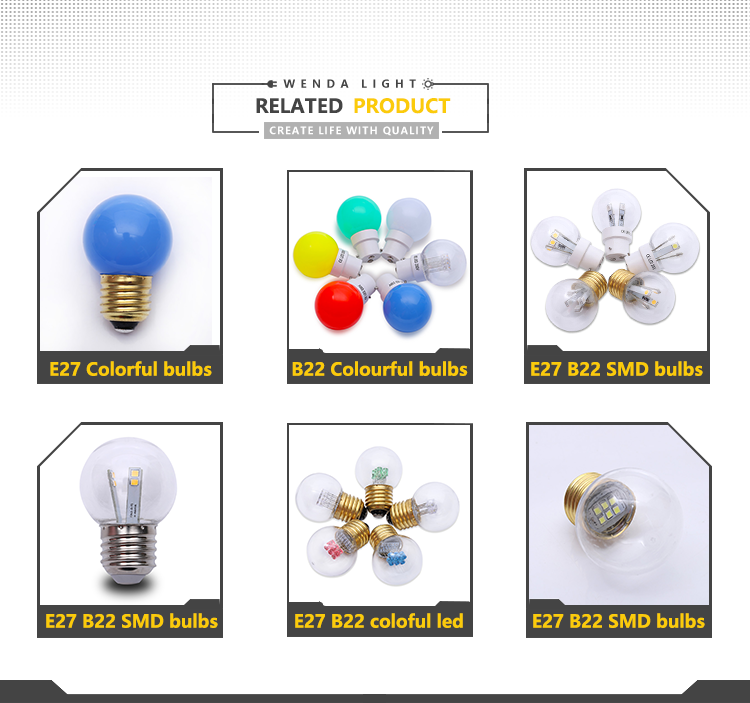 China inventory E27 plastic globe led bulbs 220v 1w waterproof outdoor garden decoration lights G45 led bulb on sales