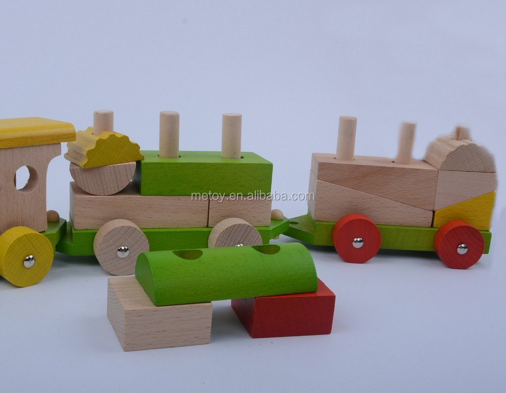 3 Sections wooden train set Building block wooden train Playground wooden toy wheels
