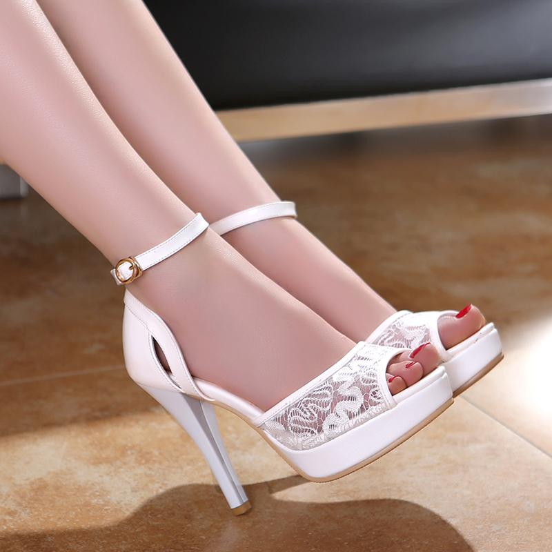 White Strappy High Heels Fs Heel