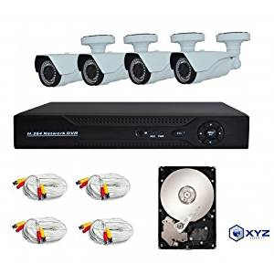 XYZ 4 Channel 960P AHD Digital Video Recorder and 4 Professional 960P Weatherproof Cameras with pre-installed 1TB HDD
