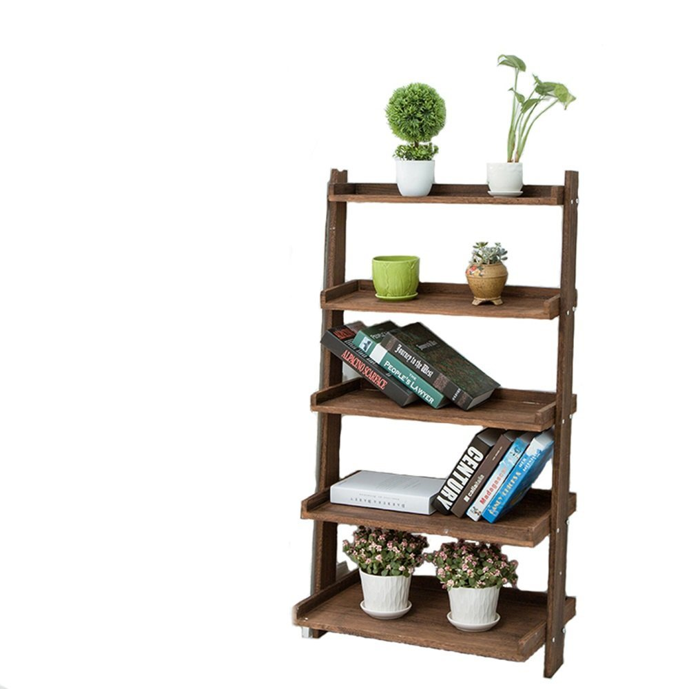 LQQGXL Storage and organization European simple multi-storey five-story display stand-style solid wood creative corner stand (Color : Brown)