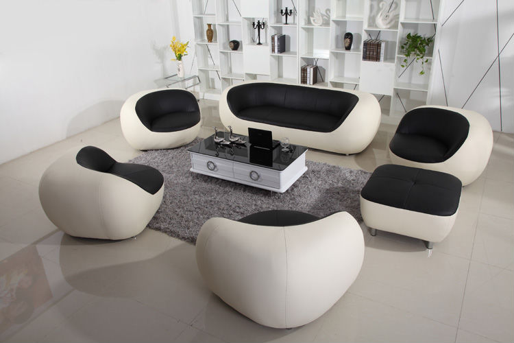 Modern white leather sofa with foot stool genuine leather for Sofa set for sale cheap