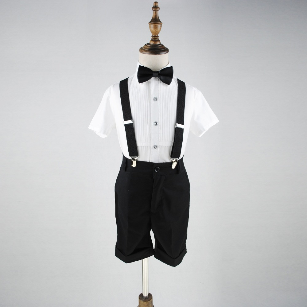 Baby Boy Short Sleeve Shirt Mid knee Shorts Braces Set 3pcs Overalls Children Formal Suit Gentlemen