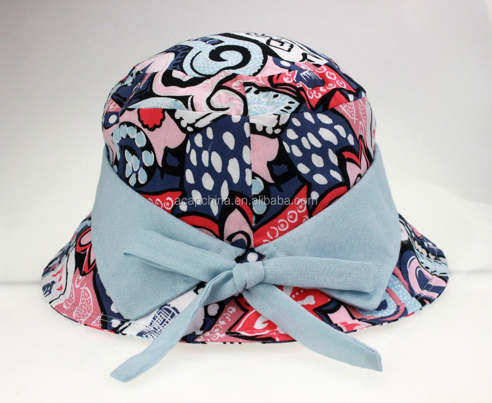 Low Price Custom Spring and Summer Fashion Print Pattern Women Bucket Hats Sunhats