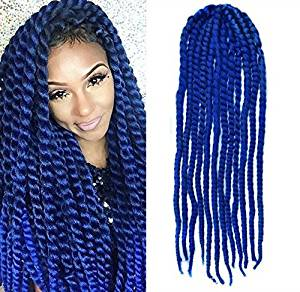 Blue Color Crochet Braid Hair Extensions Braids Havana Mambo Twist Style Cuban Uf532 24 Inches