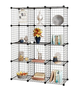 Wire Storage Cubes Modular Shelving Unit DIY Metal Grid Closet Organizer System, Bookcase, Cabinet