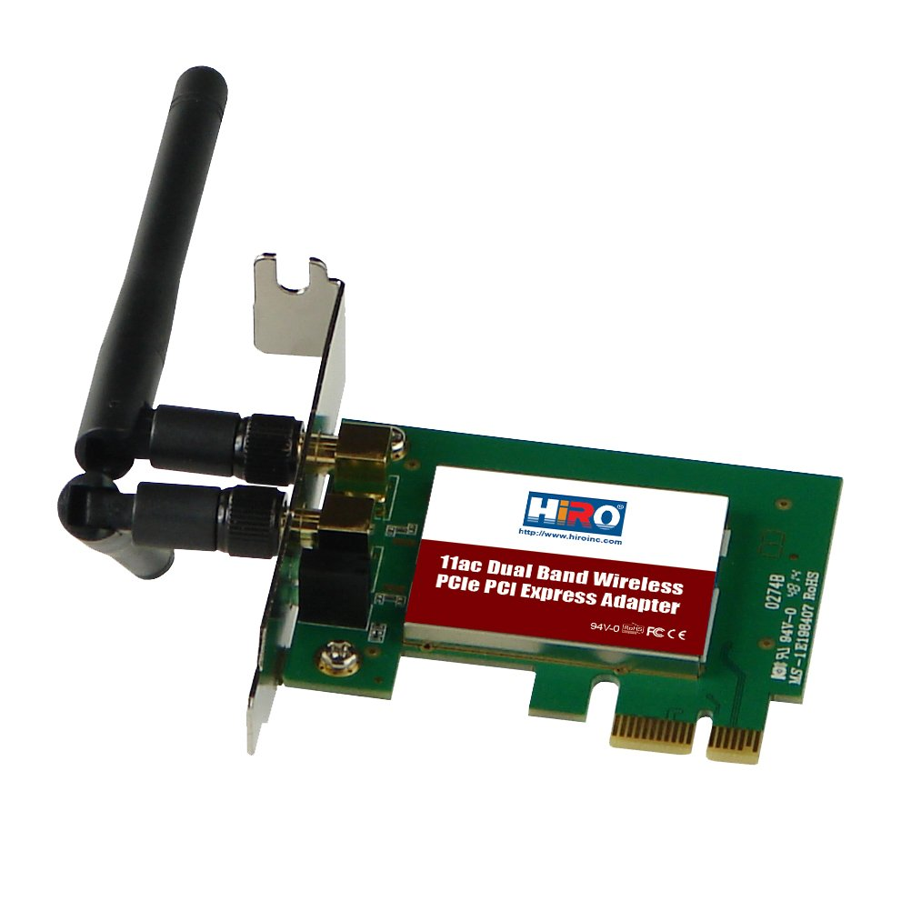 HiRO H50320 Dual Band Wireless 802.11ac AC1200 11ac WiFi 2T2R 867Mbps Low Profile PCIe PCI Express PCI-E x1 Adapter 2x 2dBi Dipole Antenna Windows 10 8.1 8 7