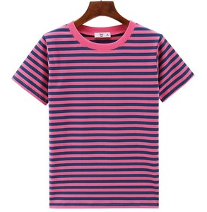 TopTee Brand T-shirts Wholesales Unisex 95%Cotton 5%Spandex Striped Mens Tshirt Boys Yarn Dyed Striped Basic T Shirt