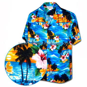 Wholesale cheap custom printed hawaiian shirt, mens aloha shirt