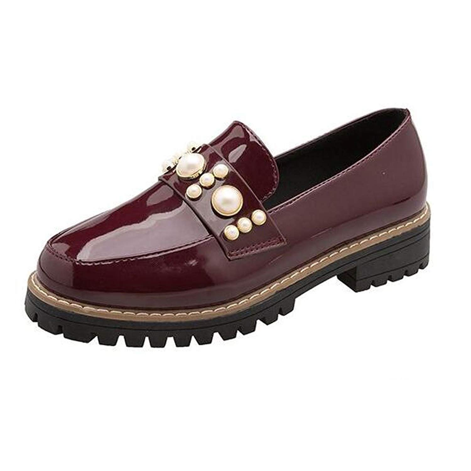 119192f8aa1c2 Get Quotations · Slduv7 Women Oxfords Fashion Patent Leather Oxfords Shoes  Casual Slip-On Low Heel Shoes Low
