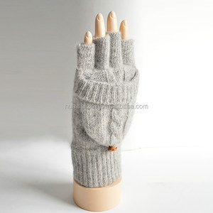 Thinsulate Lining Womens Half Finger Knitted Mittens for Winter Wearing