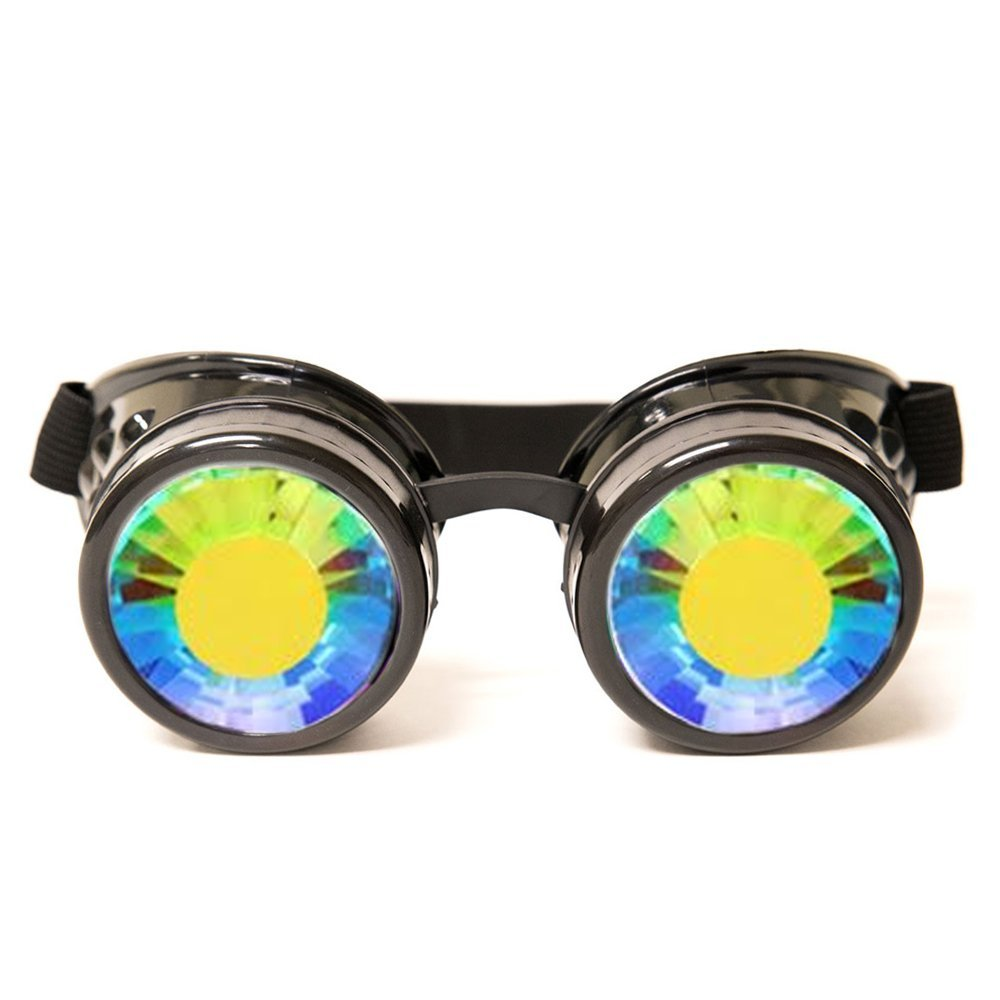 GloFX Wormhole Kaleidoscope Goggles - Festival Rave Costume Cosplay Prism EDM 3D Welding Gothic Goggles