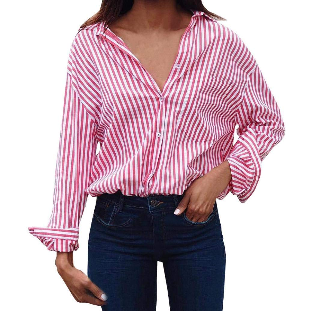 Feitengtd Plus Size Womens Cuffed V Neck Stripes Blouse Tops Long Sleeve Office Casual T-Shirt Tunic Blouses Shirts