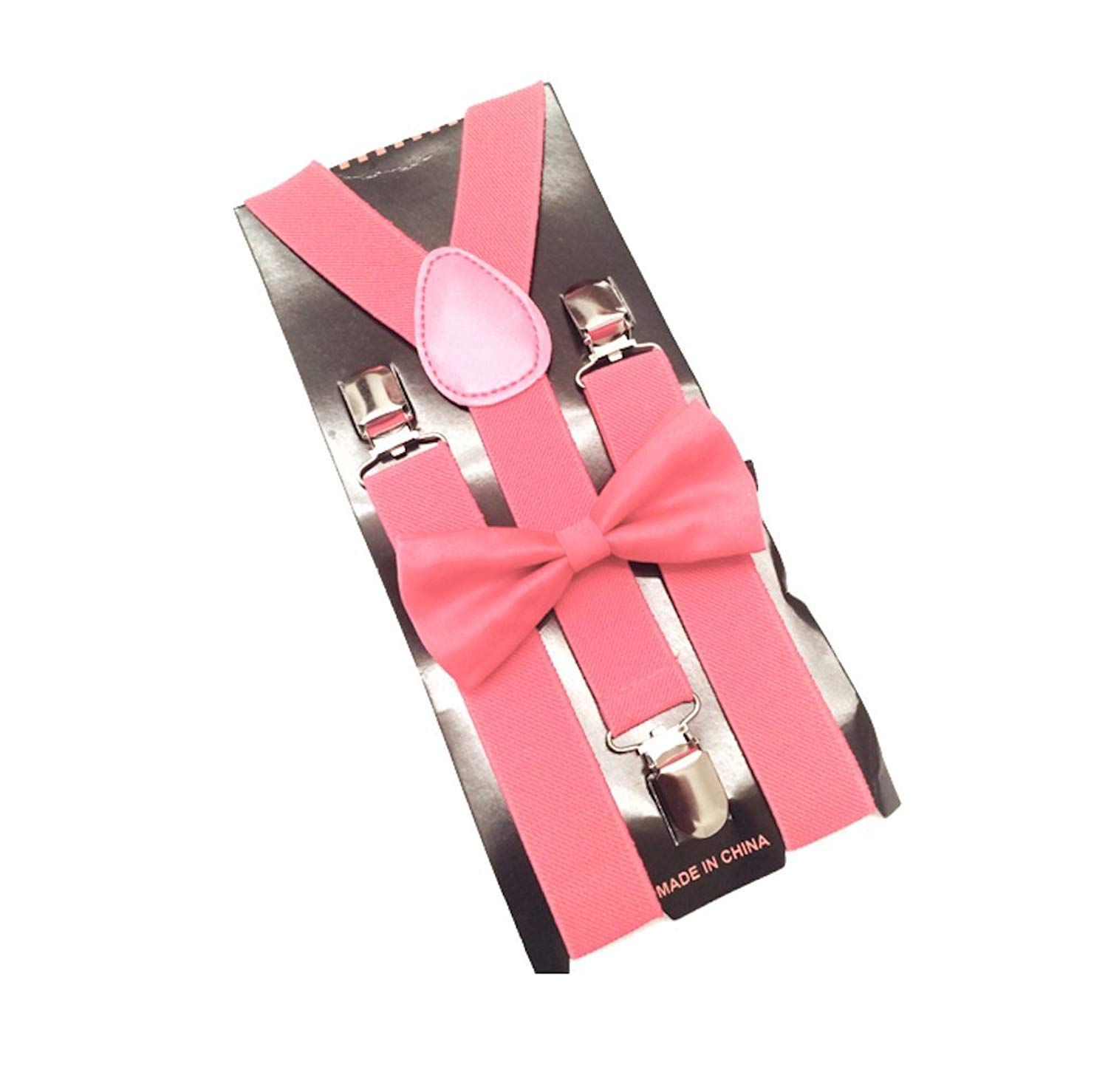 Coral Mens Bowtie Set Youth Bow Tie and Suspenders for Men Clip Suspenders