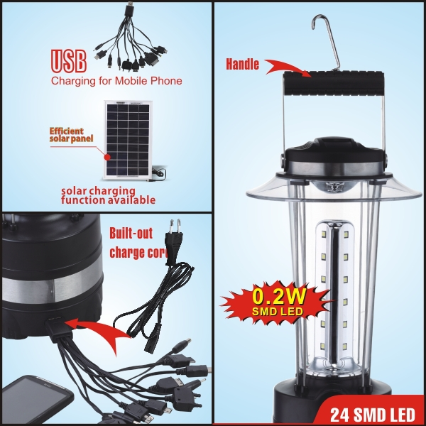 solar camping light with cell phone charger
