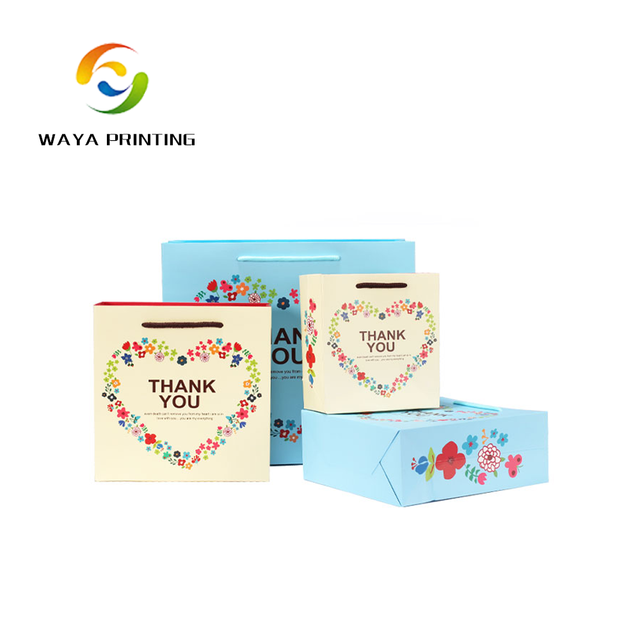 Wholesale gift package offset printing company logo thank you paper bag