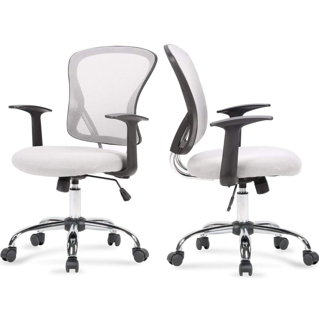 Modern Design Mid-Back Computer Desk Task Dining Room Chair Height Adjustable 360-Degree Swivel Seat Comfortable Padded Mesh Upholstery W/Armrest Home Office Furniture - Set of 2 Grey #2003