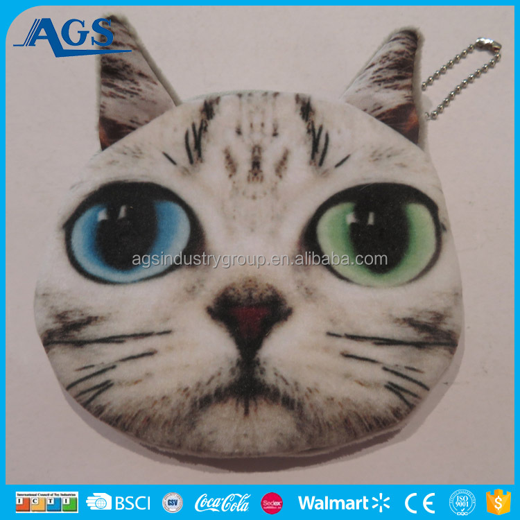 3D Cat Animal Face smalll coin wallet in soft plush fabric