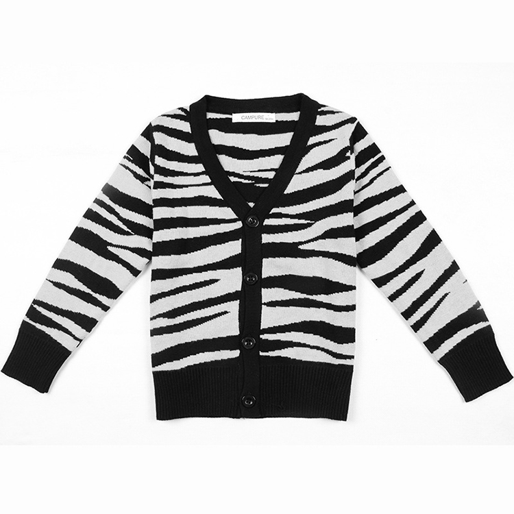 Fashion Europe and American Style Baby Girl Cardigan Sweater Leopard Grain Cotton Long Sleeve Children Coat Knit Baby Sweater