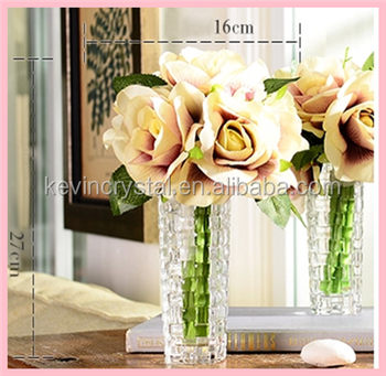 christmas decoration wholesale transparent fancy crystal flower vase