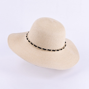B&Y New Design Paper Straw White Bucket Hats Sun Floppy Straw Hat For Women