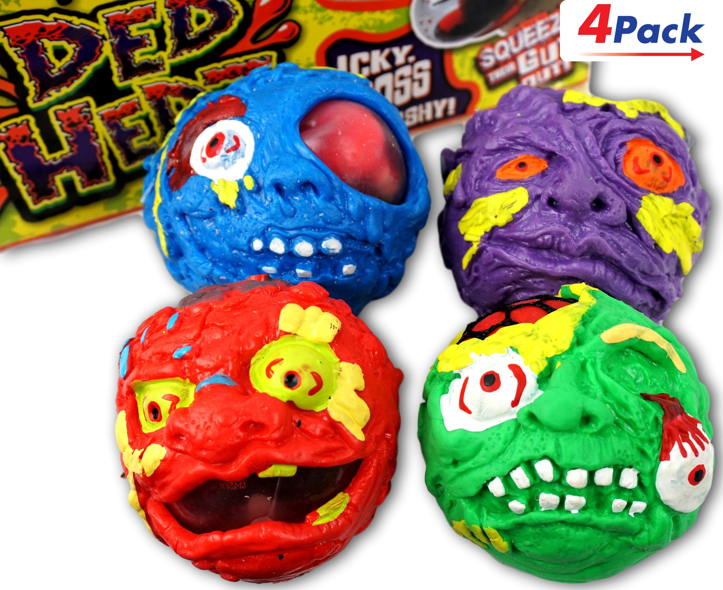 Ded Hedz Squishy Toy by JA-RU | Zombie Anxiety Relief Stress Ball Pack of 4 | Item #4236