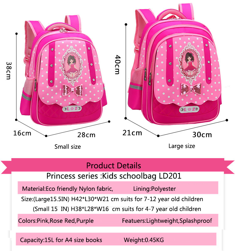 Guangzhou supplies customized girls Backpacks Cute princess schoolbag  children book bag kids school bag f2c6500b85a1b
