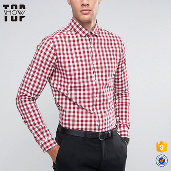 Guangdong garment gold supplier OEM slim fit gingham check shirts for men