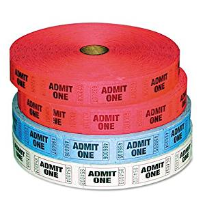 Generations Products - Generations - Admit-One Ticket Multi-Pack, 4 Rolls, 2 Red, 1 Blue, 1 White, 2000/Roll - Sold As 1 Pack - Numbered tickets. - 2,000 assorted color tickets per roll. - Perfect for special events.