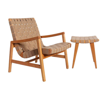Leather Webbing Lounge Chair / Woven Straps Chair