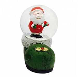 OEM Polyresin Smile Santa Clause plush boots Water snow globe