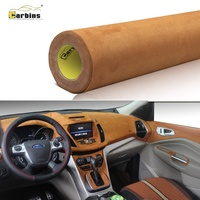 Carbins 1.42*15m Full Body Car Stickers Decoration Interior Fabric Best Soft Chocolate Brown Suede Velvet Vinyl Car Wrap Film