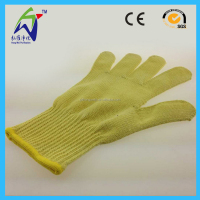 Yellow Aramid Fiber Leather Glove Heat Resistant Work Glove