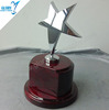 metal star trophies of wooden base round award
