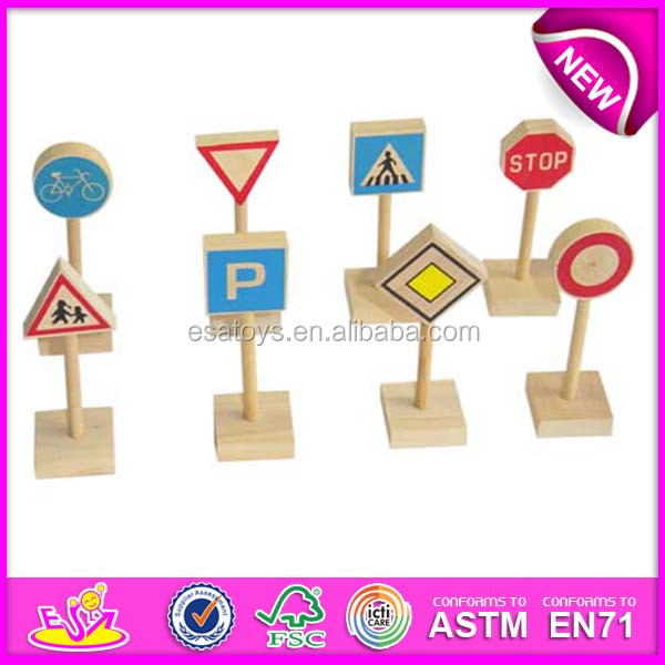 2015 New arrival wooden road sign toy for kids,Funny mini road sign toy for children,Hot sale wooden toy road sign toy WJ276314