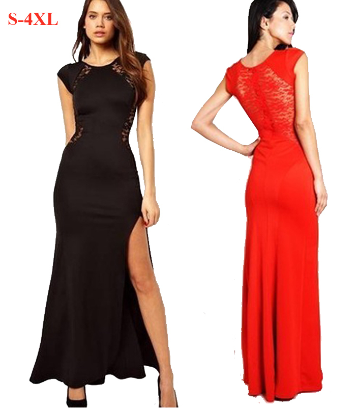 800904e1460 Get Quotations · 2015 New Arrival Long Casual Dress Women Red Black Lace  Hollow Out Sexy Club Party Gown