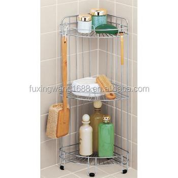 Free standing stainless steel corner shower caddy chrome - Bathroom corner caddy stainless steel ...