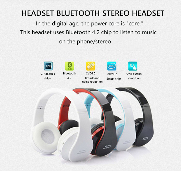 Bluetooth Headset Wireless Music Heavy Bass Noise Cancelling Headphones