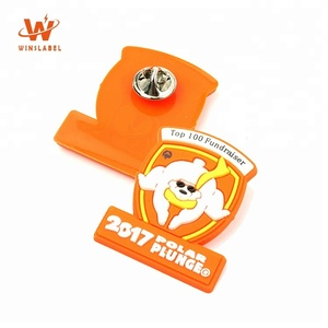 Shield Shape Custom Brand Raised Logo Soft Silicone Rubber Plastic PVC Pin Badges for Child Clothes