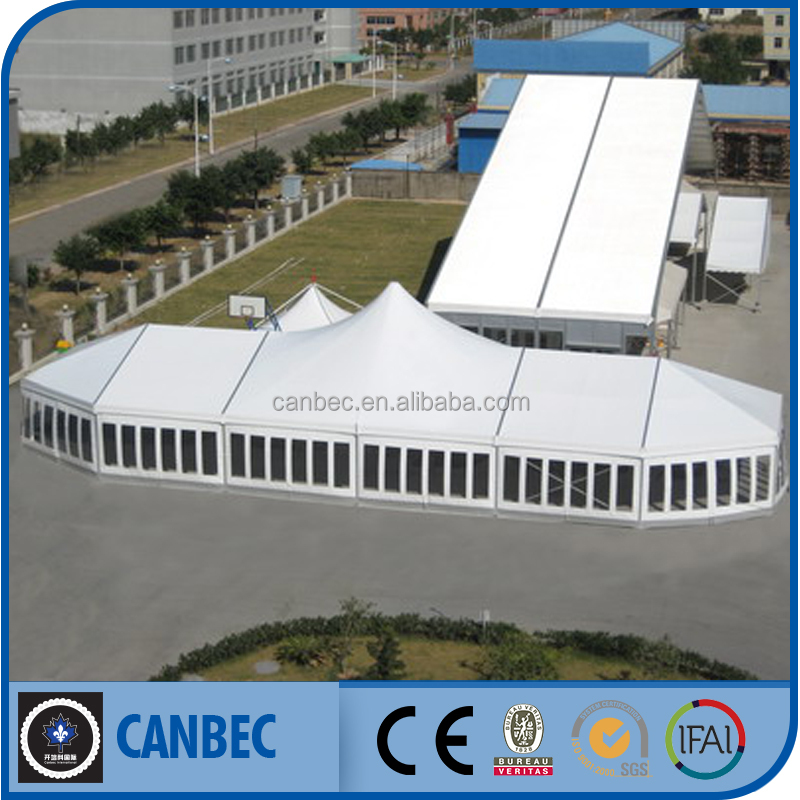 30x50 extruded aluminum frame PVC tent with high peak