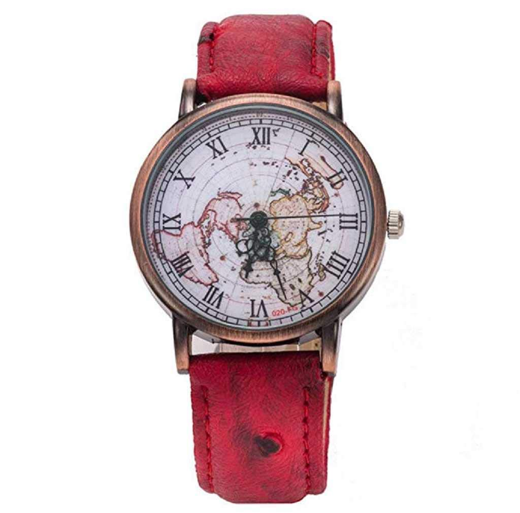 Clearance Sale! Womens Watches,ICHQ Womens Map Watch, Unique Quartz Analog Fashion Clearance Lady Watches Female watches on Sale Casual Wrist(Red)