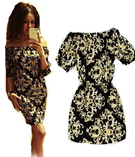 Buy aliexpress uk india half sleeve casual retro print dress ...